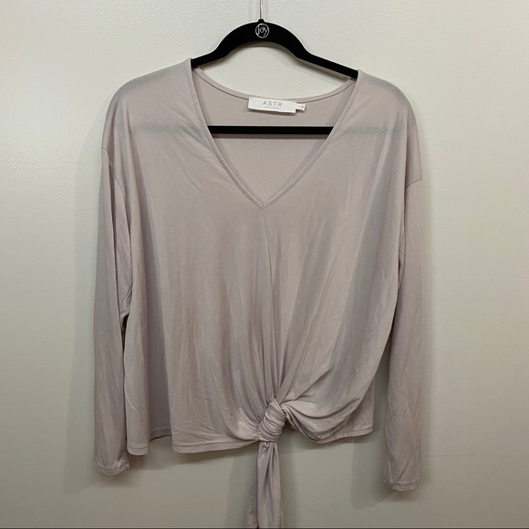 ASTR The Label Pale Pink Knotted Long Sleeve